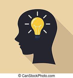 denken, idea., hoofd, menselijk, nieuw