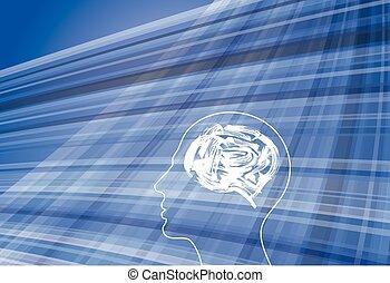 denken, nieuw, hoofd, idee, menselijk