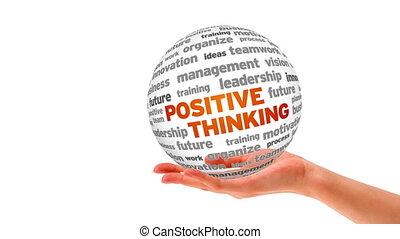 denken, positief, woord, bol