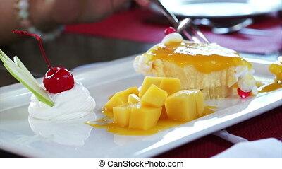 dessert, taart, kaas, mango