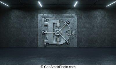 deur, achtergrond, opening, geld, groene, partij, gewelf, bank