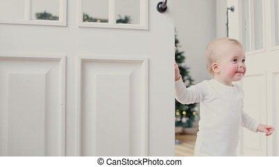 deur, kamer, het gluren, open, kinderen, uit