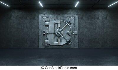 deur, opening, achtergrond, gewelf, witte , bank
