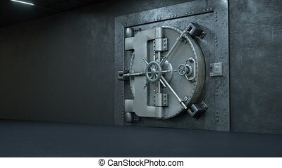 deur, opening, geld, partij, gewelf, bank