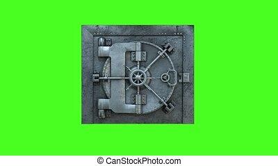 deur, opening, groene achtergrond, gewelf, bank