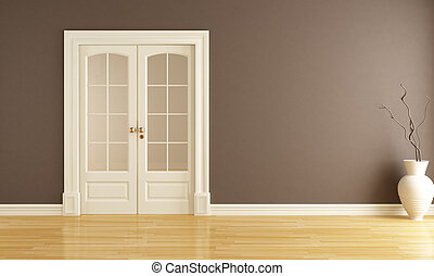 deur, verschuifbaar, lege, interieur