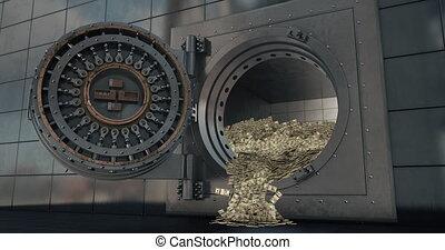 deuren, gewelf, bank, open., 3d