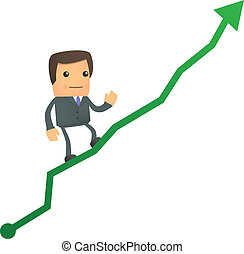 diagram, zakenman, op, spotprent, beklimming