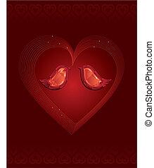 diamant, liefde, twee vogels