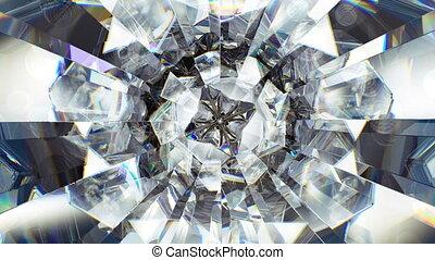 diamant, loop., macro, seamless, het fonkelen, ronddraaien, kaleidoscope