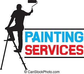 diensten, schilderij, ontwerp