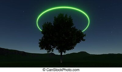 diep, boompje, stijl, moderne, achtergrond., neon, ring, stars., abstract, light., wetenschap