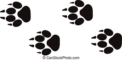 dier, stappen, vector., voetspooren, voet, ontwerp, vrijstaand, fauna, witte , sporen, afdrukken, concept
