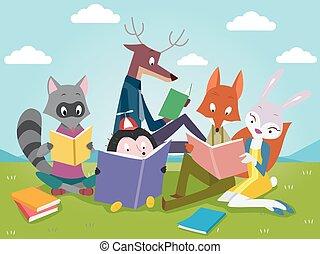 dieren, boekjes , lezende , schattig