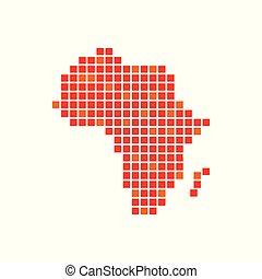 digitaal, symbool, afrika, ontwerp, pixels, rood