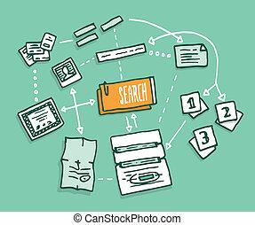 digitale informatie, data, algorithm, bijeenkomst, zoeken
