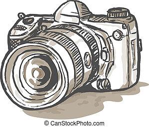 digitale , slr fototoestel, tekening
