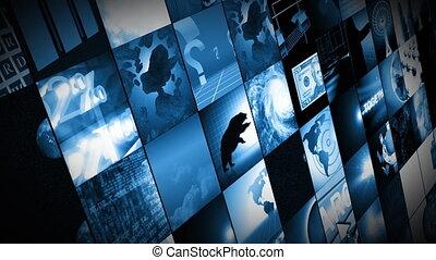 digitale wereld, zakelijk, het tonen, schermen