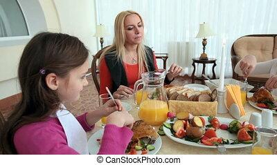 diner, gezin, feestelijk