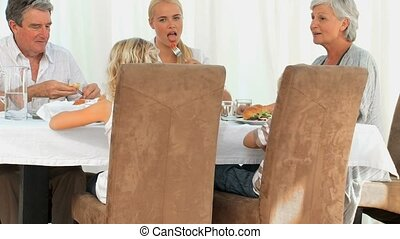 diner, hebben, gezin