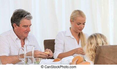 diner, hebben, hun, gezin