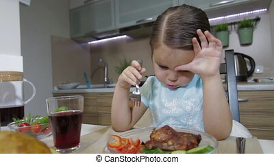 diner, hebben, klein meisje, gezin