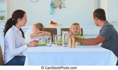 diner, hebben, samen, gezin