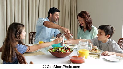 diner, hebben, spaghetti, gezin