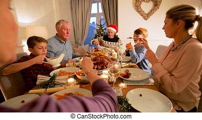 diner, kerstmis, gezin
