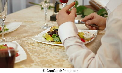 diner, man, hebben, restaurant