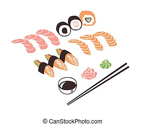 diner., vector, daadwerkelijk, zee, tekening, hand, getrokken, werken, voedsel., inkt, aziaat, sushibroodje, illustratie, kunst, creatief