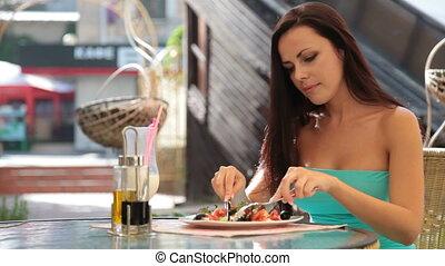 diner, vrouw, hebben, restaurant