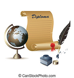 diploma, globe
