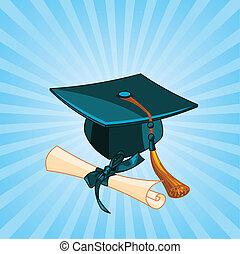 diploma, pet, radiaal, afgestudeerd