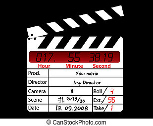 directeur, film, black , clapperboard, achtergrond