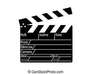 directeur, film, witte , clapperboard, achtergrond