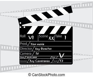 directeur, grijs, clapperboard, achtergrond, film