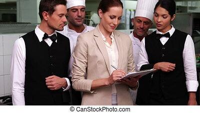 directeur, personeel, restaurant, vrolijke