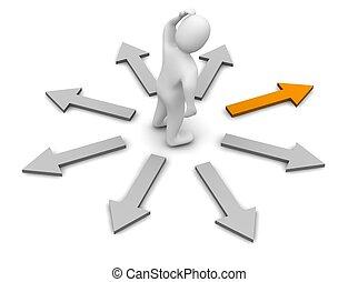 direction., gereproduceerd, illustration., rechts, kiezen, 3d
