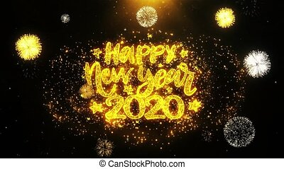 display, particles., wensen, vrolijke , jaar, nieuw, tekst, ontploffing, 2020, vuurwerk