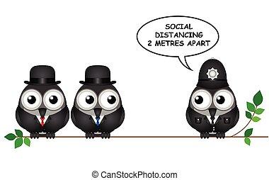 distancing, komisch, sociaal