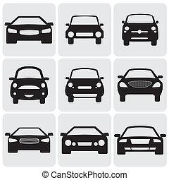 dit, kleur, luxe, graphic., tegen, symbolen, bovenkant, compact, view-, icons(signs), vector, voorkant, auto, illustratie, zwarte achtergrond, vertegenwoordigt, witte , car's, negen, passagier
