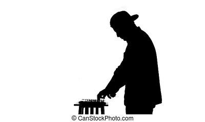 dj, mixer, zwarte achtergrond, silhouette, witte , spelend