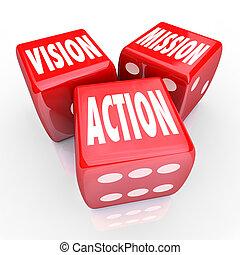 dobbelsteen, drie, strategie, rood, actie, missie, visie, doel