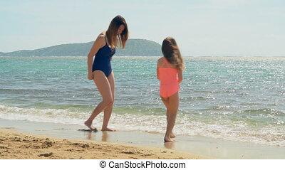 dochter, hebben, moeder, strand, plezier, 4k