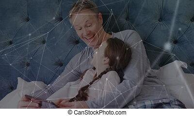 dochter, man, gebruik, aansluitingen, netwerk, digitaal tablet, tegen