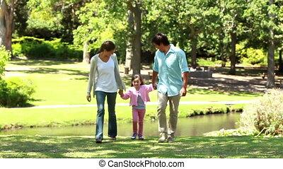 dochter, ouders, hun, spelend, vrolijke