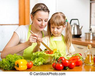 dochter, slaatje, moeder, vermenging, onderwijs, geitje, keuken
