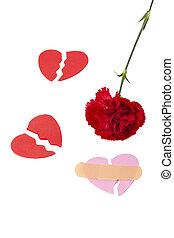 document hart, anjer, kapot, rood, vorm