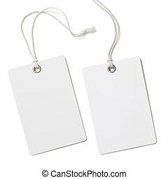 doek, papier, leeg, vrijstaand, set, etiket, of, label